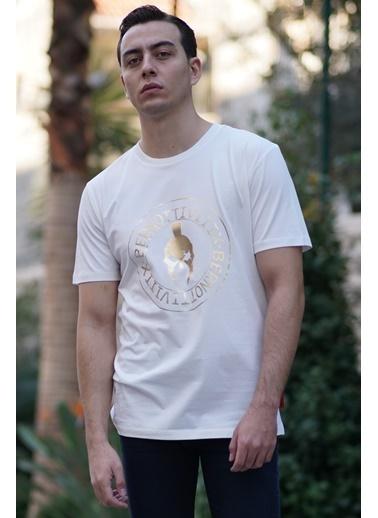 Bernotti 79 Beyaz Baskı Detaylı Sıfır Yaka Erkek T-Shirt Beyaz